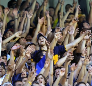 Fans of Boca Juniors celebrate during th
